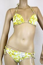 $595 NEW Authentic Gucci Floral Swimsuit Bikini, Yellow/White, XS, 235567