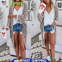Women's Loose Long Sleeve Cardigan Leopard Casual Autumn Tops Blouse Coat Jacket