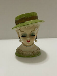 Vintage Ceramic Lady Head Vase Planter Necklace Pearl Earrings and Necklace