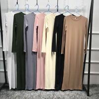 Women Muslim Bodycon Maxi Dress Robe Slim Kaftan Cocktail Stretch Islamic Gown