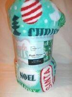 MAINSTAYS - Plush Throw Christmas Saying Blanket Winter Scene 50 x 60 Green NIP