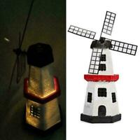 Solar power Windmill Lighthouse Spinner Garden Lawn Lights ke LE W4R8 Decor V1N6