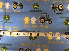 "John Deere Nursery Duck Tractor Blue 100% cotton Fabric 49 x 44"" awesome fabric"