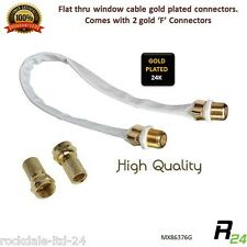 Flat Thru window TV Coax Cable + 2 x F Connectors Caravan Window Door SAT
