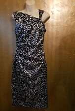Maggy London black & white calf length dress, size 10. Ruched and lined