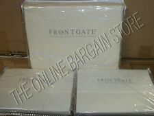Frontgate Hemstitch Percale Duvet Cover Embroidered QUEEN Euro Pillow Sham IVORY