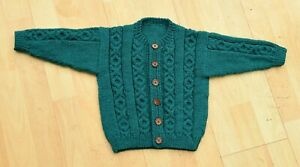 Hand knitted aran style teal greencardigan age 2 to 3 years 56 cms 22 inch chest