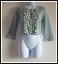 Principles Women's 2/3 Sleeve Silk Trim Button Cardigan size UK 8  EUR 36