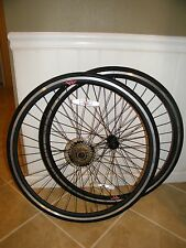 "(2) 26"" ETRTO WHEEL: FRONT & REAR, BLACK MSW, SHIMANO, 700C-622 32H LIGHTLY USED"