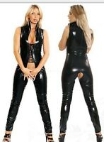 WOMEN NEW SEXY PVC LEATHER CATSUIT CLUBWEAR COSTUME DRESS BONDAGE SIZES 12 14 16