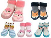 Baby Boy Girl Toddler Slippers Grip Socks Blue Striped Fox Anti-slip 3-24 Months