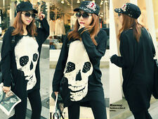 Women's Skull Printed Shirt Oversize Long Batwing Sleeve Pull Over O-Neck Tops