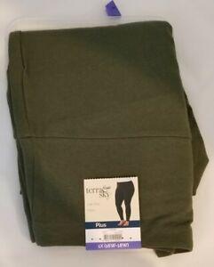 New TERRA & SKY Women's Olive Green Full Length High Rise Fitted Leggings - 1X