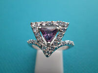 925 Silver Natural Amethyst Trillion & White Topaz Ring Size N, US 6.75 (rg1799)