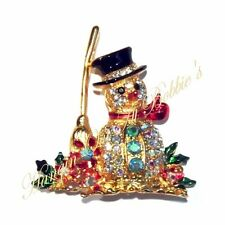 Snowman Crystal Pin Brooch Red Scarf Broom Black Hat Christmas Holiday Goldtone