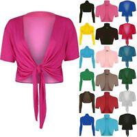 Womens Short Sleeves Cardigan Ladies Front Knot Tie Bolero Wrap Shrug Crop Top