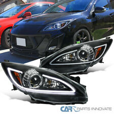 10-13 Mazda 3 Halogen Black Projector Headlights w/ LED DRL Strip Left+Right