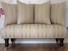 Footstool Stool 4 Cushions Laura Ashley Luxford Camomile Stripe Fabric