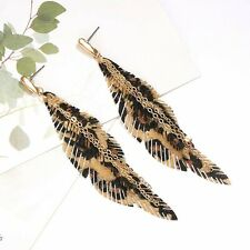 "Faux Leather Feather Drop Earrings Leopard Gold Long Jewelry 3.5"" Statement"