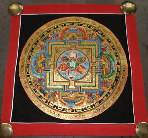 SEHR FEINES Kalachakra Mandala Thangka aus Nepal mit Mantra