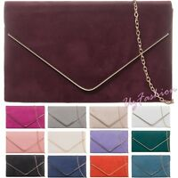 New Plain Suede Wedding Ladies Party Prom Evening Clutch Hand Bag Purse HandBag
