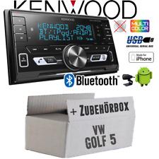 Kenwood Autoradio für VW Golf 5 V 2-DIN Bluetooth/USB/VarioColor Auto Einbauset