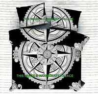 Noir et Blanc Compas Mandala Imprimé Housse de Couette Indien Reine Coton Set