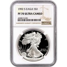 1992-S Proof American Silver Eagle one Dollar Coin NGC PF70 Ultra Cameo