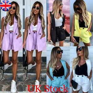 2PCS Women's Sleeveless Jacket Blazer Suit OL Ladies Coat Shorts Hot Pants Set