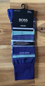Genuine HUGO BOSS Men's socks. Size 5.5-8/39-42 Blue Stripe. New, Great Gift