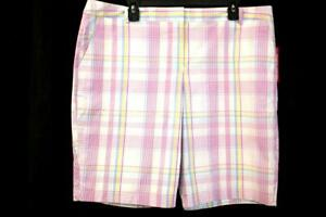 """NWT IZOD Pastel Plaid WOMENS GOLF SHORT 10"""" Inseam Activewear Stretch XL 18"""