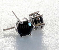 Men Boy 6mm Black CZ Cubic Zirconia Stud Crystal Earrings Pair White Gold Plated