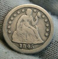 1845 O Seated Liberty Dime 10C  - Nice Coin, Key Date 230,000 Minted (9678)