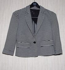 BCBG MAX AZRIA Cotton Modal  Black White Striped Cropped Blazer Women Size:XS
