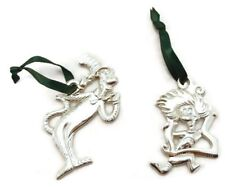 """Cat In The Hat Ornaments Set of 2 Silver Plated Green Ribbon Hangers 3"""""""