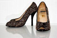 """BERTIE Tweed Fabric Smart Modest 4.5"""" Stiletto Peeptoe Court Shoes Uk 4"""
