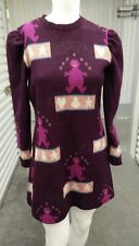B8 1970s VINTAGE COOKIES BY SUE ELAYNE dress fit flare purple men hearts L