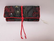 Black and Red Flower Sparkly Sequin Jewellery Wrap Roll Organizer Travel #6F20