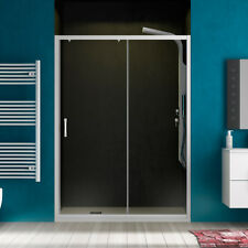 Nicchia doccia 120 cm porta scorrevole in cristallo e profili alluminio bianco