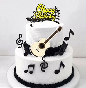 GUITAR CAKE TOPPERS DECORATIONS X9 MUSIC BRAND NEW CRAFT ART CRAFT UK SELLER