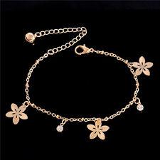 Plated Flower Charm Anklet Bracelet Barefoot Sandal Beach Rhinestone Rose Gold