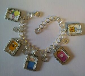 Silver Plated Charm Bracelet With Charms Adventure Time Finn Jake Ice King PB