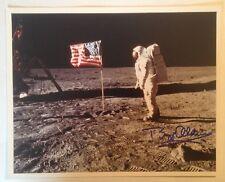 Astronaut Buzz Aldrin Autographed Photograph on the Moon with Flag (Apollo 11)