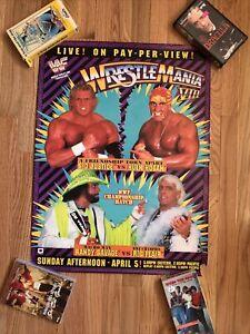 WWF Wrestlemania VIII Original Poster vintage wwe Ric Flair Macho Man Hulk Hogan