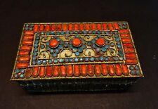 Tibetan antique jewelry silver-ton trinket fine inlaid natural red coral & turqu