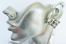 Beautiful Faux Pearl Stud CLIP ON Earrings Crystal Diamante in Silver Tone