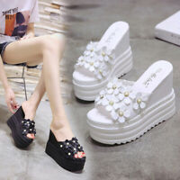 New Womens Wedge High Heel Slippers Sandals Open Toe Casual Summer Shoes Slip on