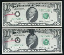 """(2) CONSECUTIVE 1969-B $10 FRN'S """"INK SMEAR ERROR WITH BEP REJECTION MARKS"""" AU"""