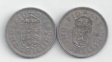 2 OLDER 1 SHILLING COINS from GREAT BRITAIN - 2 TYPES (BOTH DATING 1954)
