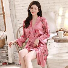2Pieces/Set Women Lady Silk Satin Pajamas Pyjama Sleepwear Nightwear Loungewear